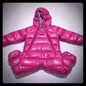 Patagonia 12M Hi-Loft pink puffer snowsuit